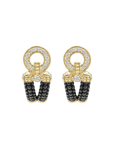Circle Game Black Ceramic Caviar Link Earrings with Diamonds