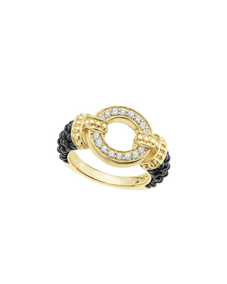 Circle Game Black Ceramic Ring with Diamonds, Size 7
