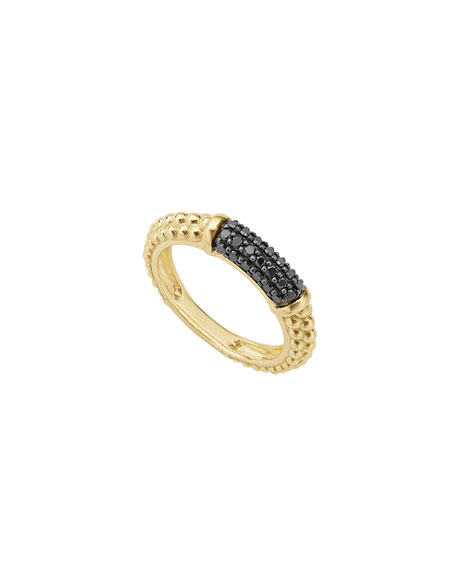 3mm 18k Gold Caviar Stack Ring with Black Diamonds, Size 7