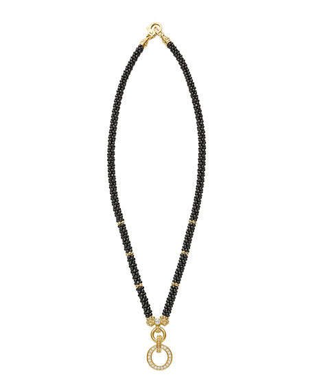 Circle Game Black Caviar Rope Necklace with Diamonds