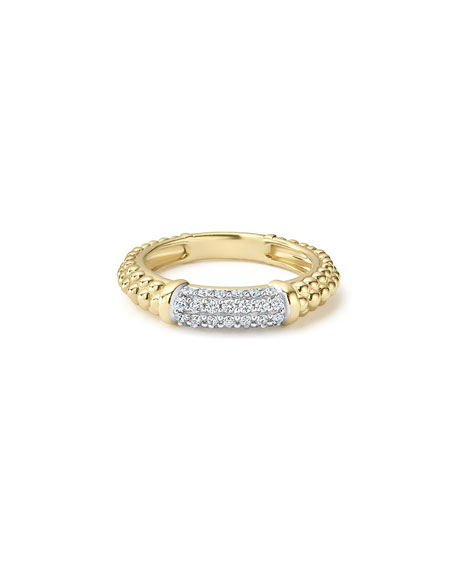 3mm 18k Gold Caviar Stack Ring with White Diamonds, Size 7