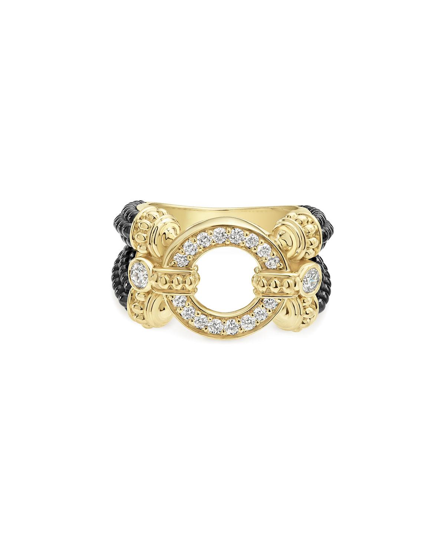 Lagos Circle Game Black Ceramic Split-Shank Ring with Diamonds, Size 7