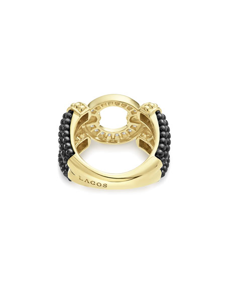 Circle Game Black Ceramic Split-Shank Ring with Diamonds, Size 7