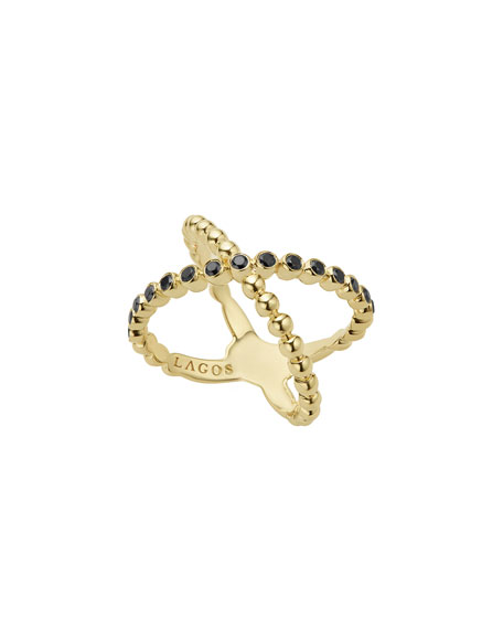 Caviar 18K Gold Crisscross Ring with Black Diamonds, Size 7