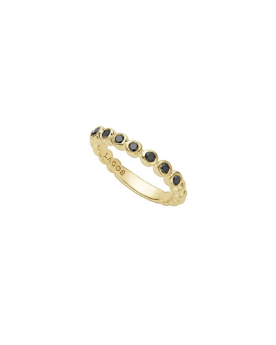 3mm Black Diamond Caviar Stacking Band Ring, Size 7