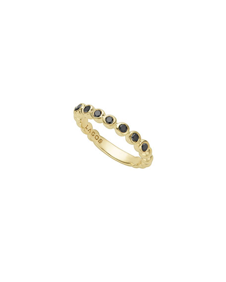 Lagos 3mm Black Diamond Caviar Stacking Band Ring, Size 7