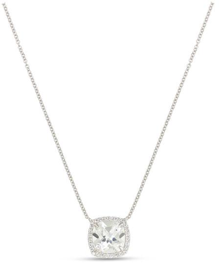 Cushion White Topaz & Diamond Halo Necklace