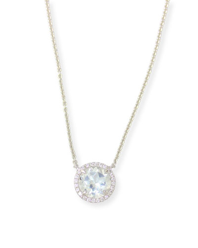Round White Topaz & Diamond Halo Necklace