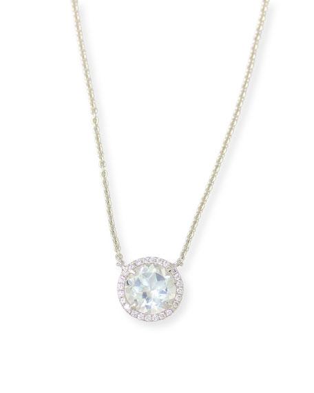 Round White Topaz & Diamond Halo Necklace