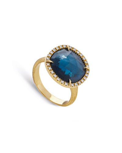 Jaipur 18k London Blue Topaz & Diamond Cocktail Ring