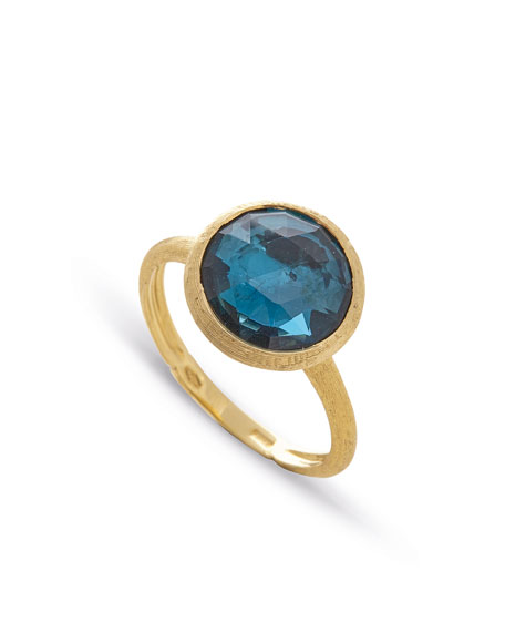 Jaipur 18K Faceted Round London Blue Topaz Ring
