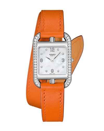 Cape Cod PM Watch with Diamonds & Leather Strap, Orange