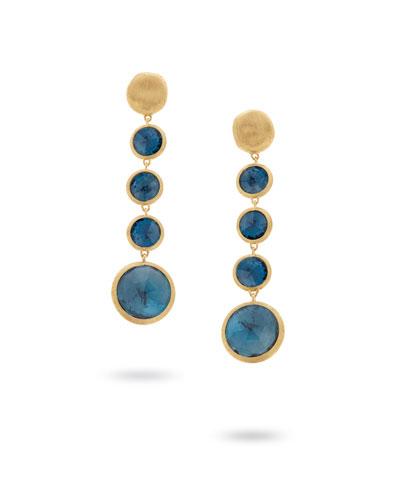 Jaipur 18K Gold Blue Topaz Drop Earrings