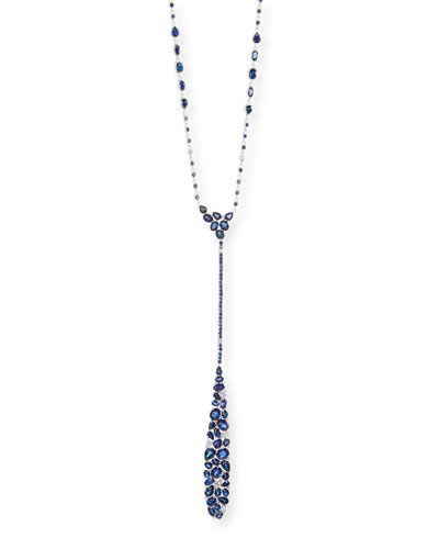 Mosaic Blue Sapphire & Diamond Y-Drop Necklace