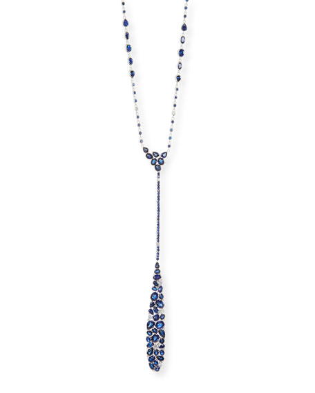 Mosaic Blue Sapphire & Diamond Y-Drop Necklace