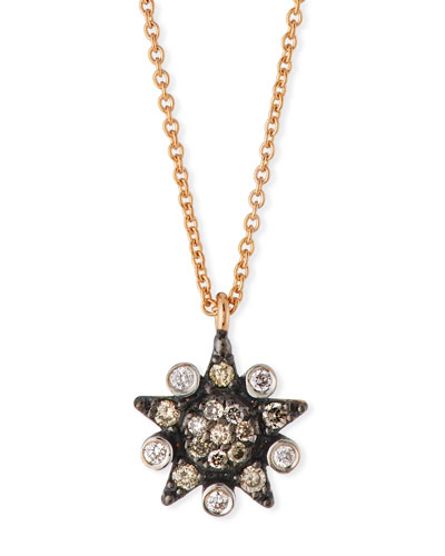 Eclectic White & Champagne Diamond Star Necklace