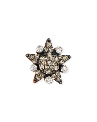 Eclectic Champagne & White Diamond Large Star Stud Earring