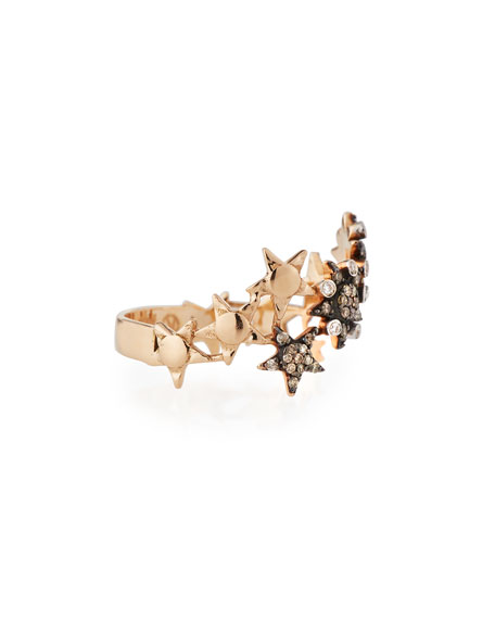 Eclectic Star Band Ring with Diamonds, Size 6.75