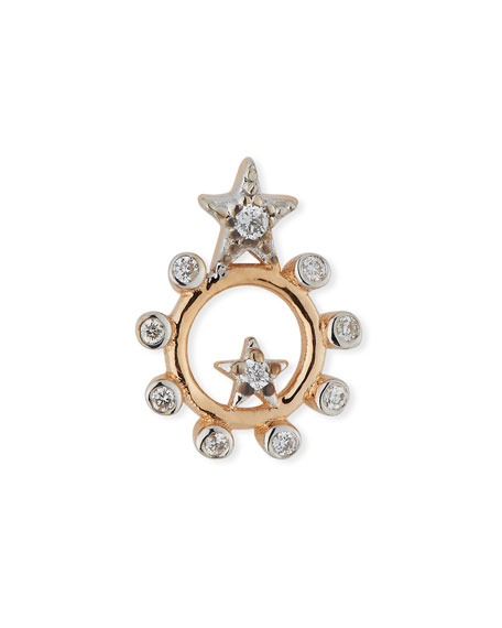 Eclectic Star Circle Earring with Diamonds
