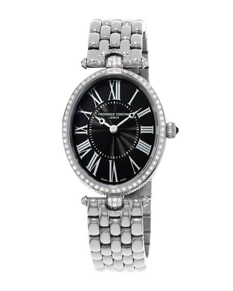 Ladies' Classics Art Deco Stainless Diamond Watch, Black