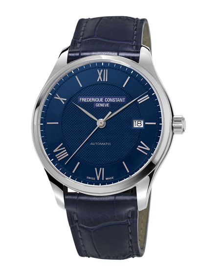 Gents Classics Index Automatic Stainless Watch w/Alligator Strap, Blue