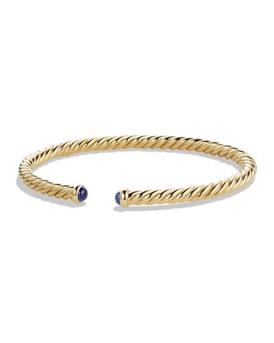 18k Cable Spira Bracelet w/ Blue Sapphires