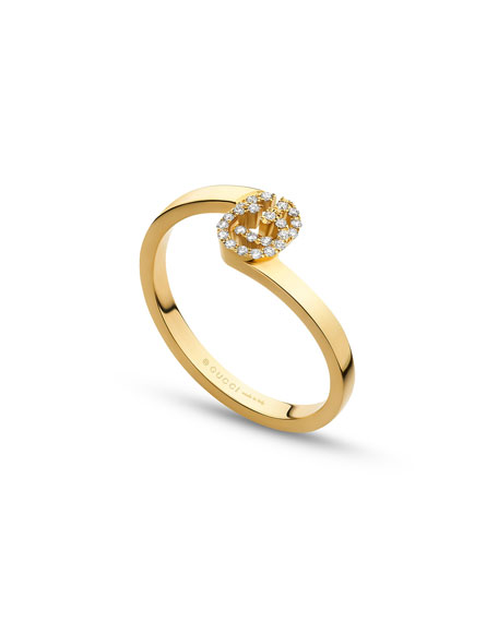 Running G Stacking Ring with Diamonds in 18K Yellow Gold, Size 6.25