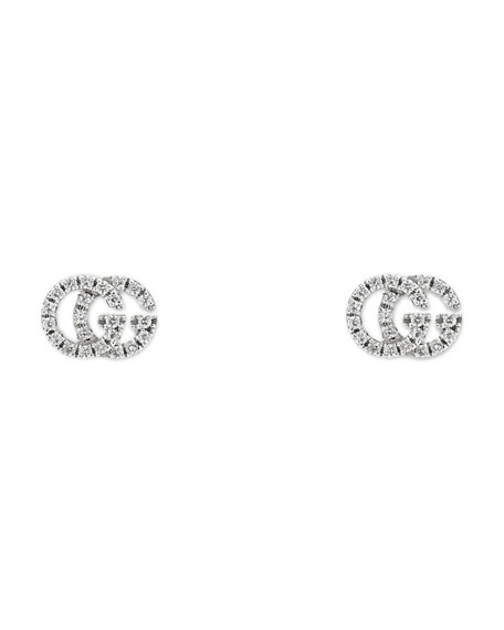 Running G Pavé Diamond Stud Earrings in 18K White Gold