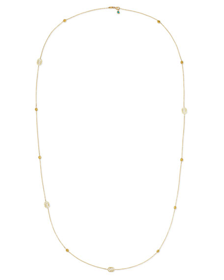 """Running G Topaz Station Necklace in 18K Yellow Gold, 36"""""""