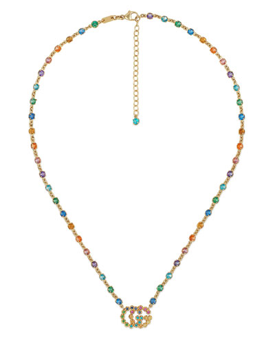 Running G Necklace with Topaz, Citrine & Sapphire