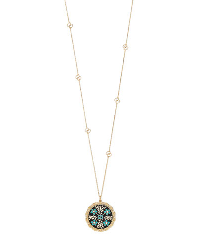 Icon Blooms Pendant Necklace in 18K Gold, 32