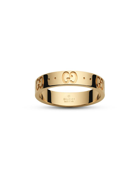 Icon GG Thin Band Ring in 18K Gold, Size 7.25