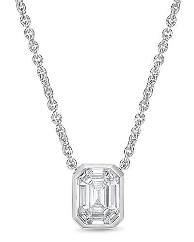 Emerald-Shaped Diamond Baguette Pendant Necklace
