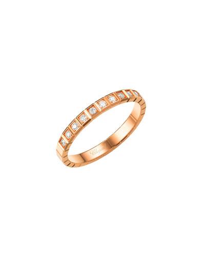 Ice Cube Mini Diamond Ring in 18K Rose Gold, Size 54