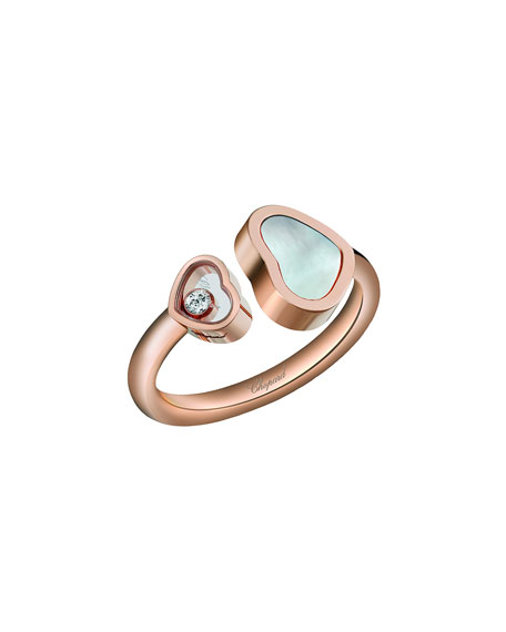 Happy Hearts Mother-of-Pearl & Diamond Ring in 18K Rose Gold, Size 52/53