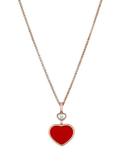 Happy Hearts 18k Carnelian & Diamond Pendant Necklace