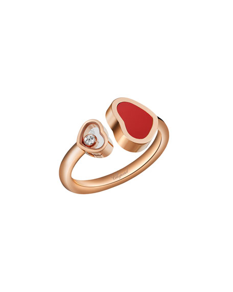 Happy Hearts Carnelian & Diamond Ring in 18K Rose Gold, Size 50/51