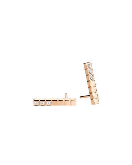 Ice Cube Diamond Bar Earrings in 18K Rose Gold
