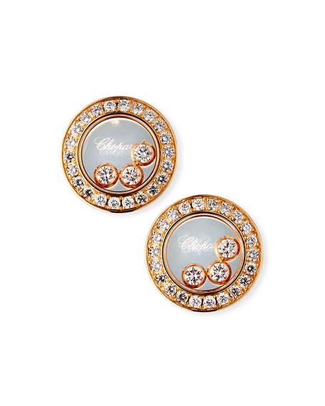 Chopard 18k Rose Gold Diamond Icon Stud Earrings