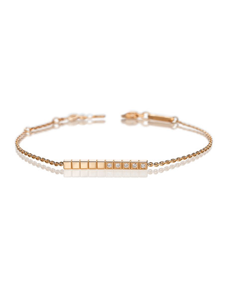 Ice Cube Diamond Bar Bracelet in 18K Rose Gold