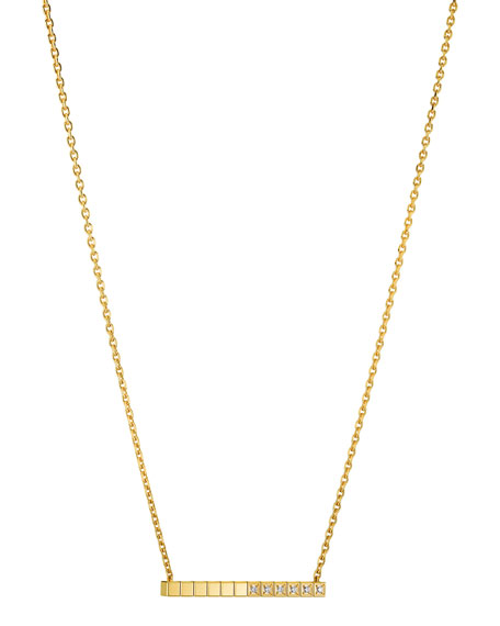 Ice Cube Diamond Bar Necklace in 18K Gold