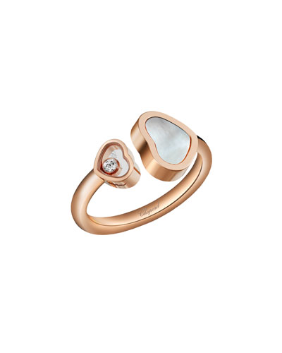 Happy Hearts Mother-of-Pearl & Diamond Ring in 18K Rose Gold  Size 50/51