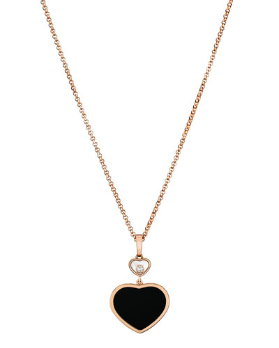 Happy Hearts Onyx & Diamond Pendant Necklace in 18K Rose Gold