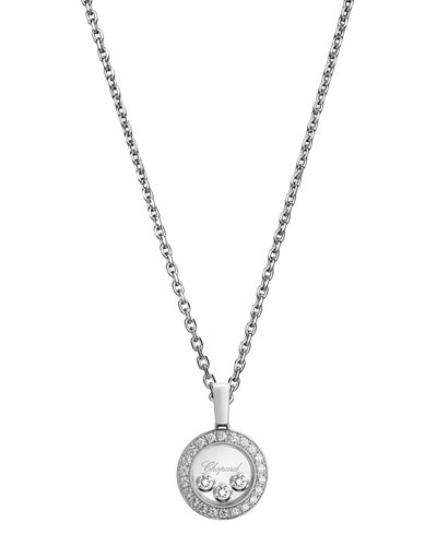 Happy Diamonds Round Pendant Necklace in 18K White Gold