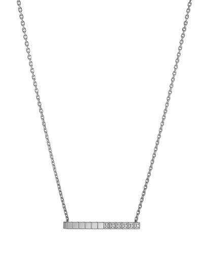 Ice Cube Diamond Bar Necklace in 18K White Gold