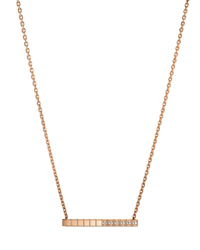 Ice Cube Diamond Bar Necklace in 18K Rose Gold