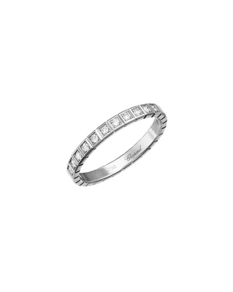 Ice Cube Mini Diamond Ring in 18K White Gold, Size 54