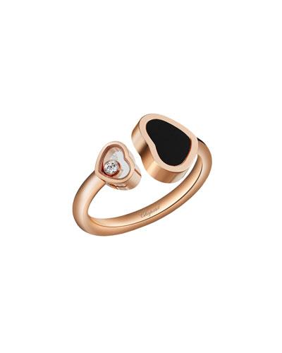 Happy Hearts Onyx & Diamond Open Ring in 18K Rose Gold, Size 54/55