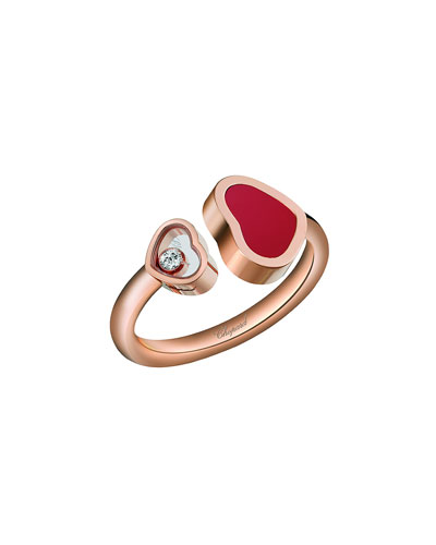 Happy Hearts Carnelian & Diamond Ring in 18K Rose Gold, Size 52/53