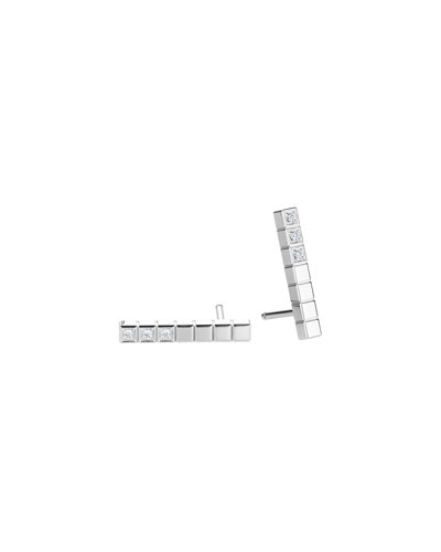 Ice Cube Diamond Bar Stud Earrings in 18K White Gold